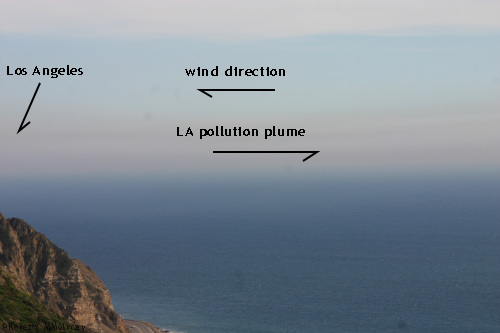 view of the coastal ocean with a dirty plume of LA air that should be blowing inland