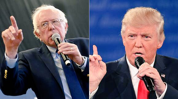 Bernie Sanders on the left, Trump on the right, both in the same 'I'm holding forth' attitude.