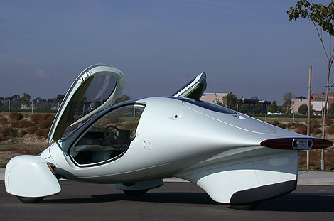 tear-drop shaped, 3-wheel, 100mpg equivalent electric car of the future, originally on Popular Mechanics