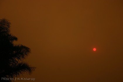 smoke-filled sky with the red sun barely shining through