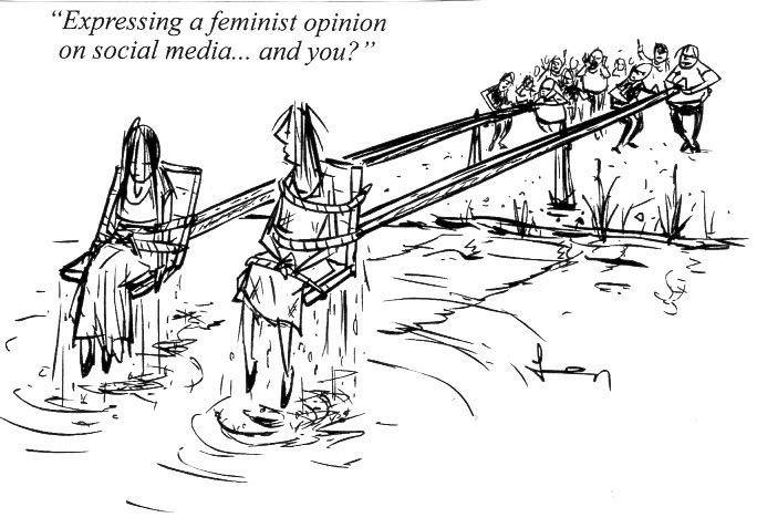 cartoon of two women being abused for expressing feminist ideas on social media