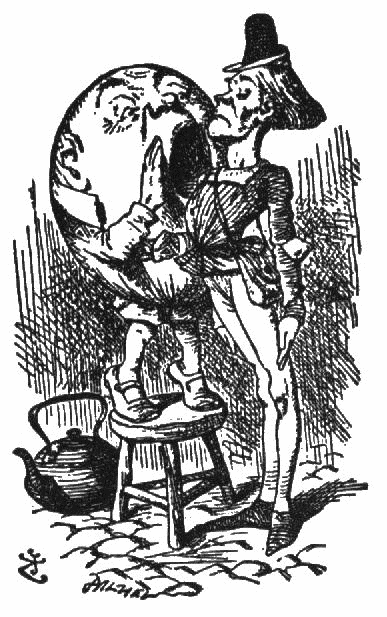 Drawing by John Tenniel for Alice Through the Looking Glass of Humpty Dumpty yelling at one of the very stiff King's men.