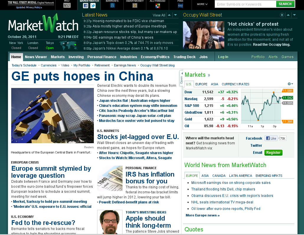 picture of main MarketWatch page with attractive female demonstrator story highlighted in the top right corner