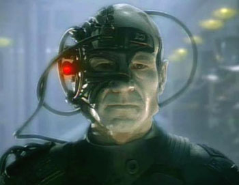 Captain Picard of Star Trek transformed into a Borg
