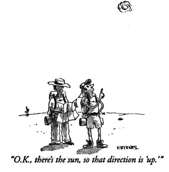 New Yorker cartoon by P. Byrnes. Two hikers lost in the desert, one consulting a map, the other pointing and saying, okay, there's the sun, so that direction is up