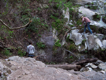 bryophyte-searching-mr-Satwiwa-waterfall-trail-Santa-Monica-Mts-2011-02-08-IMG 7049